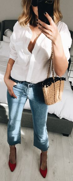 #spring #outfits White Shirt & Crop Jeans