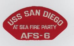 USS SAN DIEGO AFS-6 AT SEA FIRE PARTY Original hat patche Uss San Diego, Patches For Sale, Hat Patches, Ball Caps, Fire, Sea, The Originals, Party, Parties