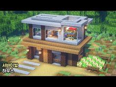 ⚒️ Minecraft tutorial : 🏡 How To Build a Survival house 🚧 [마인크래프트 건축 : 야생 집 만드는 방법] - YouTube Plans Minecraft, Minecraft Farm, Minecraft House Tutorials, Minecraft Modern, Cute Minecraft Houses, Minecraft House Designs, Minecraft Survival, Minecraft Blueprints, Minecraft Creations