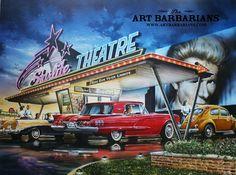 Drive In Theater by Dan Hatala ArtBarbarians.com