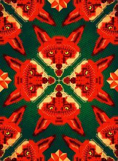 Fox Cross Geometric Pattern by Chobopop