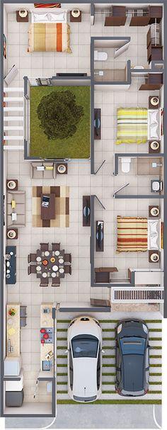 60 Fachadas de Casas Pequenas e Simples Para Você se Inspirar - sabiri Sims House Plans, Small House Floor Plans, House Layout Plans, Family House Plans, Dream House Plans, Home Building Design, Home Room Design, Home Design Plans, Layouts Casa