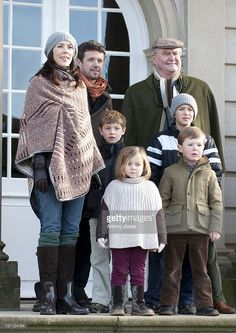 Members Of The Danish Royal Family Watch The Annual Hubertus Hunt Race, At Dyrehaven, Near Copenhagen.Crown Prince Frederik, Crown Princess Mary Of Denmark With Princess Isabella, And Prince Christian, Prince Henrik, Prince Nikolai, And Prince Felix . (Photo by Antony Jones/UK Press via Getty Images)
