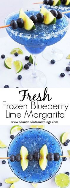 Fresh Frozen Blueberry Lime Margarita - Beautiful Eats & Things - - What's better than an ice-cold margarita? A cold, Fresh Frozen Blueberry Lime Margarita with FRESH blueberries and lime! Healthy Cocktails, Yummy Drinks, Frozen Alcoholic Drinks, Non Alcoholic Margarita, Refreshing Drinks, Good Drinks, Alcholic Drinks, Healthy Smoothies, Smoothie Recipes