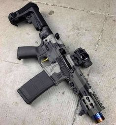 - folder billet receiver, titanium muzzle device, rail, hand stop, optic mount…