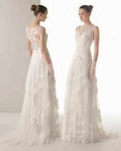 67d4531a5adf Brides: Soft by Rosa Clará. Beaded lace and silk tulle dress in a natural  color.
