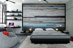 Rustic wallpapers that give the feel of stacked bricks or vintage panels add a real country style vibe to the bedroom space. #Atominteriors #interiordesigners #wallpapers #wallpaperdesigns #wallpapersticker #wallpaperdinding #wallpapermurah #wallpaperdecor #homedecor #walldecor Wallpaper Design For Bedroom, Rustic Wallpaper, Bedroom Wall Designs, Wallpaper Decor, Designer Wallpaper, Indian Bedroom, Indian Homes, Brick Design, Wallpaper Patterns