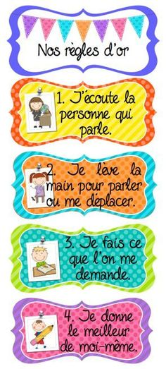 Classroom Golden Rules / Classroom Management in French: gestion du… Classroom Organisation, Classroom Rules, Classroom Language, Classroom Posters, School Classroom, Classroom Management, French Classroom Decor, French Teaching Resources, Teaching French