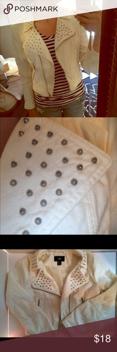 White Moto jacket H&M white Moto jacket with studs, very cute but I was ambitious buying this and it's a little out of my comfort zone, needs a new home with a much trendier owner! H&M Jackets & Coats
