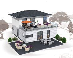 Stadtvilla mit doppelgarage dachterrasse und balkon in for Flachdachhaus mit doppelgarage