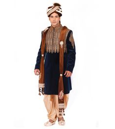 A perfect mix of traditional as well as modern, the creations of Study By Janak aim to embody the man of today. Wedding Sherwani, Indian Ethnic, Hipster, Punk, Velvet, Study, Coat, Green, Fashion