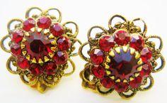 Vintage Ruby Red  Rhinestone Earrings  Red by NfrKaVintage on Etsy