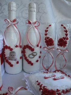 Свадебные бокалы, шампанское, свечи и др аксессуары ручной работы. Лепка полимерной глиной