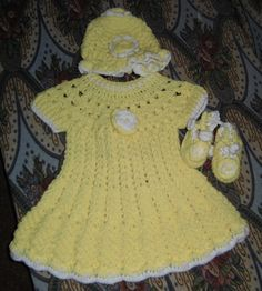 Beautiful baby dress, hat and booties for only $29.99  - Free Shipping until 2-15-2013