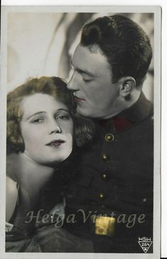 Vintage Czech HSH tinted photo-postcard couple in love, man in uniform 1928 Photo Postcards, Vintage Postcards, Men In Uniform, Couples In Love, Budapest, People, Photos, Movie Posters, Romanticism