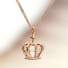 Stylish Zircon Crown Pendant Necklace For WomenNecklaces | RoseGal.com