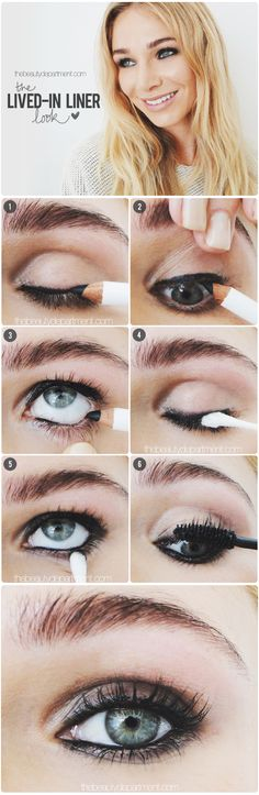 "The Beauty Department's ""lived-in liner"" look - should try it soon! I've never been able to really make my eyes pop."