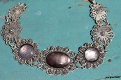 Vintage Mexican 925 Sterling Silver FIligree Cannetille Mother of Pearl Link Bracelet