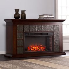 Harper Blvd Newbridge 60-inch Warm Brown Walnut Electric Fireplace