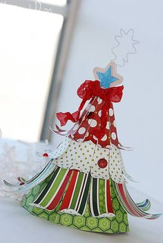 Kimberly made the cutest tree from CHRISTMAS ORNAMENTS KIT to go with her Christmas village!  Love it!