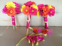 Hot Pink Fuchsia Yellow Orange Wedding Gerbera by ShaesDesigns, $150.00