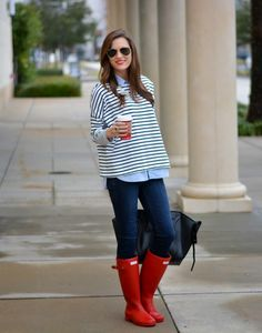 Rainy Day Casual- hunter boots, skinnies, striped sweater, chambray button down or oxford, pearls