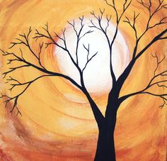 Original Harvest Moon Tree Painting -Acrylic Painting on Wood -Fall Painting -Halloween Painting -8x10 Wooden Painting
