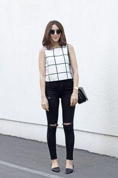 Black & White Outfit: grid print/windowpane top, black jeans