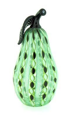 Handblown  filigree ribbon glass Pear