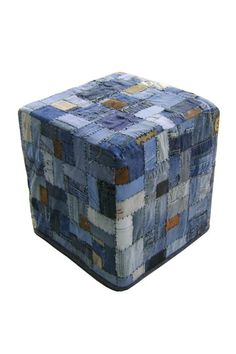 OMG, this is so freaking cool!! Denim Ottoman by Moe's Home - $132. An ottoman designed with Quilted denim & recycled leather.    Denim Square Ottoman
