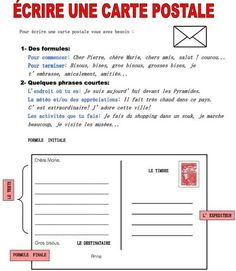 Écrire une carte postale on Fiches pedagogiques curated by edcamblor Ap French, Core French, French Words, Learn French, French Tips, French Flashcards, French Worksheets, French Teacher, Teaching French