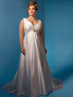 A-line Taffeta V-neck Empire Plus Size Chubby Wedding Dresses With Jewelry