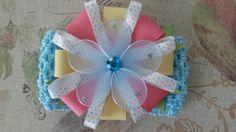 Blue Pink Yellow Headband, Crochet Headband, Baby Headband, Girl Headband, Newborn Headband, Headband - pinned by pin4etsy.com