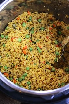 Healthy, inexpensive, and delicious, this pressure cooker Indian Vegetable Rice is a perfect side OR main dish, and thanks to the almighty Instant Pot, it is easy as can be! #Indianrice #InstantPot #pressurecooker #sidedish #rice #melskitchencafe