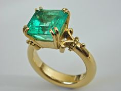 LOVE & HATRED, THE STRAND ARCADE Gorgeous Colombian emerald ring - would love if was in 18ct matte gold