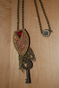 Gold Vintage Key Germany Handmade Mother of by PatchHappyPauper, $16.50