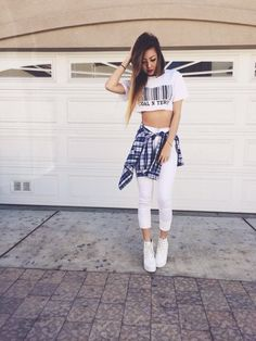 White Skinny Jeans. White Midriff. White Lace Up Boots. Blue Plaid Shirt. White…