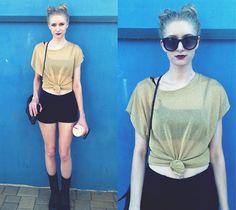 Vintage Sheer Gold Shimmer Top, Forever 21 High Waisted Dressy Shorts, Forever 21 Combat Boots
