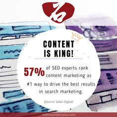 Did you know that 57% of SEO experts rank content marketing as #1 way to drive the best results in search marketing? In order to maintain a good ranking on search engines, content is very important! That's why we are here for you, to ensure every content you upload is keyword-optimized! To learn more about our SEO services in Hong Kong, visit our website, or email; enquiry@redmountainasia.com App Marketing, Marketing Approach, Digital Marketing Strategy, Content Marketing, Social Media Marketing, Online Marketing Consultant, Online Marketing Services, Seo Services, Hong Kong