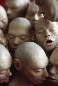 Richard Stipl - heads - eyes closed - mouths open and closed - bald - noses - ears