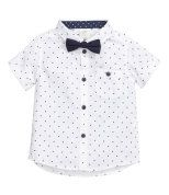 Check this out! Short-sleeved shirt in cotton fabric with printed dots. Short sleeves with sewn cuffs and chest pocket with button. Removable bow tie with adjustable elastic strap with plastic fastener at back. - Visit hm.com to see more.