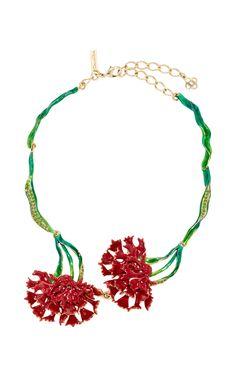 Beaded Carnation Necklace  by OSCAR DE LA RENTA Now Available on Moda Operandi