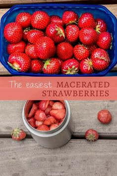 These macerated strawberries are almost too easy. Turn your favorite fruit into an insanely tasty syrupy treat to top your oats, pancakes, or ice cream. Vegan Vegetarian, Paleo, Vegan Recipes Easy, Sweet Tooth, Strawberry, Tasty, Treats, Fruit