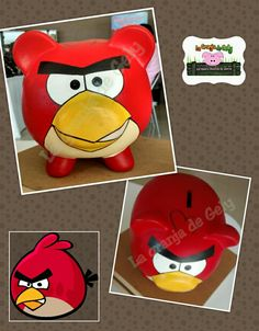 Angry bird Pig Bank, Personalized Piggy Bank, Bird Crafts, Angry Birds, Paper Mache, Pigs, Harry Potter, Pottery, Red