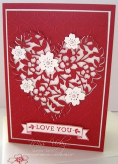 love cards Love You by Miss Vicky - Cards and Paper Crafts at Splitcoaststampers Bloomin Love Stampin Up, Holiday Cards, Christmas Cards, Valentine Love Cards, Valentine Ideas, Wedding Anniversary Cards, Wedding Cards, Happy Anniversary, Wedding Invitations
