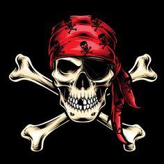 Vector de tripulación de calavera pirata... | Premium Vector #Freepik #vector #logo #icono #caracter #dibujos-animados Pirate Tattoo, Pirate Skull Tattoos, Jack Sparrow Tattoos, Skull Artwork, Skull Drawings, Pirate Art, Skull Illustration, Skull Wallpaper, Skull Logo