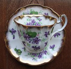 Royal Adderley - Fine Bone China England - Vintage Tea Cup and Saucer - Purple Violet Flowers with Heavy Gold Trim by OfftheShelf2015 on Etsy