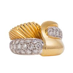 Damiani Diamond Gold Ring   From a unique collection of vintage fashion rings at http://www.1stdibs.com/jewelry/rings/fashion-rings/