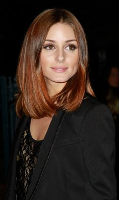 Olivia Palermo takes the bob to a new length, and it looks great! #hair #haircut I am going to grow my hair out a bit more and this may be the color and cut I go with soon. :D