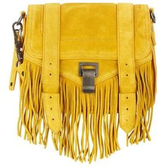 Proenza Schouler PS1 Mini Fringe Suede Satchel ($725) ❤ liked on Polyvore featuring bags, handbags, mini purse, satchel handbags, yellow handbag, miniature purse and suede purse